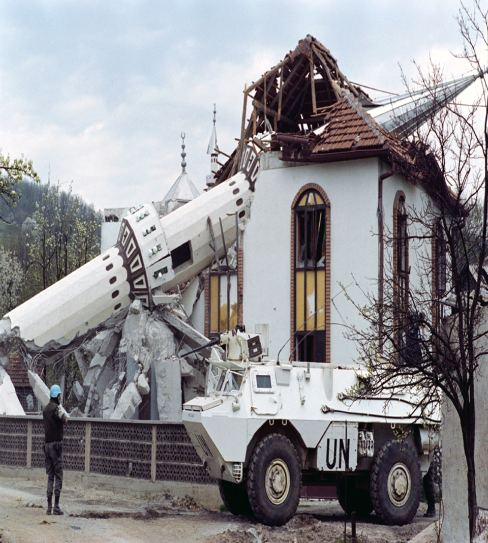 Destroyed mosque in Bosnia.